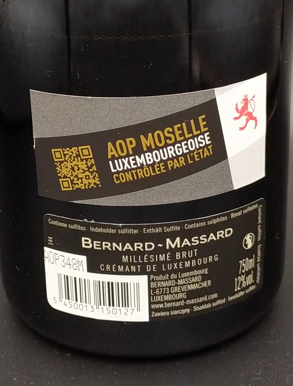 Crémant Millesimè Brut 2016 Bernard-Massard - etichetta AOP